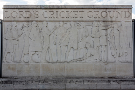 lord's: Name Plate outside historical Lords Cricket Ground in London, England