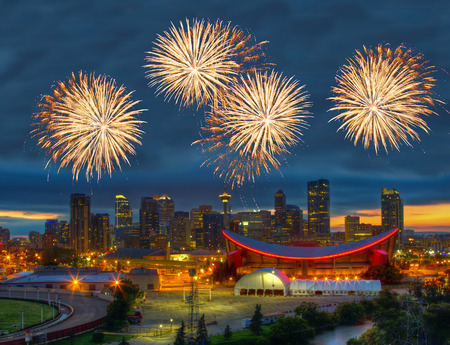 Spectacular Fireworks over Downtown Calgary, Canada Stock Photo