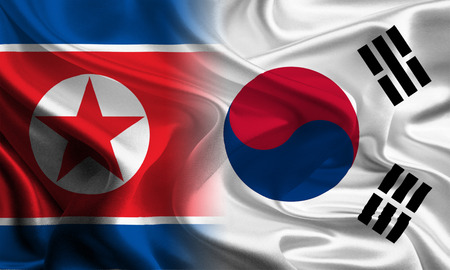 asian business meeting: South and North Korean Flags joining together concept Stock Photo