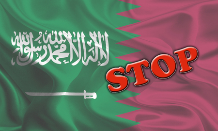 middleeast: Stop Massage on Saudi Arabia and Qatar Flags Waving Together