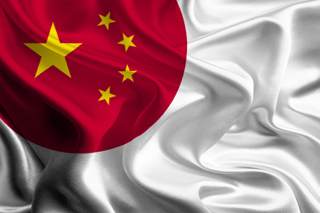 joining: Chinese and Japanese Flags joining together concept Stock Photo