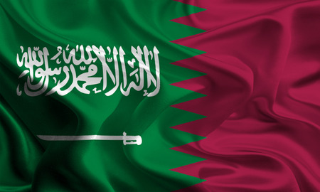 unlawful act: Saudi Arabia and Qatar Flags Waving Together