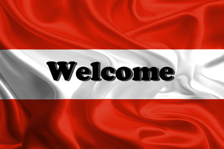 austrian: Welcome Massage on Waving Austrian Flag Stock Photo