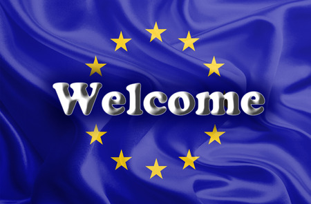 immigrant: Welcome Massage on Waving European Union Flag