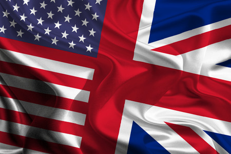 usa flags: USA - UK Flags joining together concept