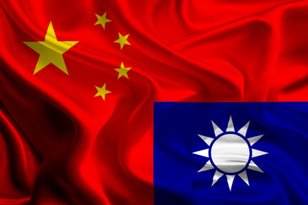 taiwan: China and Taiwan Flags joining together concept