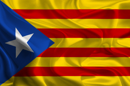 Blue Catalan independence flag Stock Photo