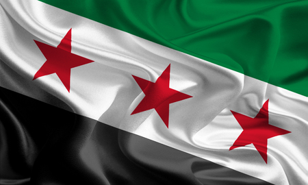assad: Flag used by the Assad government in Syrian Arab Republic Stock Photo