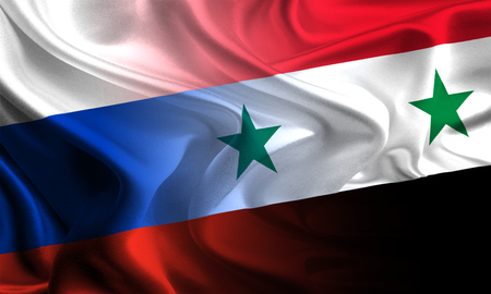 syria peace: Flags of Russia and Syria waving together