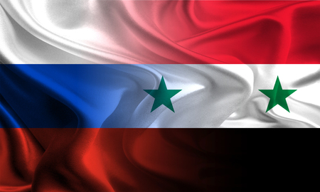 syria peace: Russian and Syrian flags waving together Stock Photo
