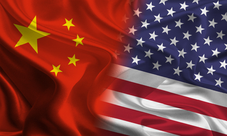 chinese flag: Chinese and American flags joining together concept Stock Photo