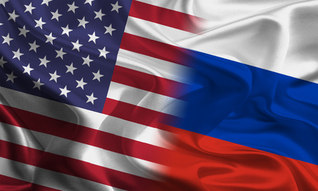 jointly: American and Russian flags joining together concept