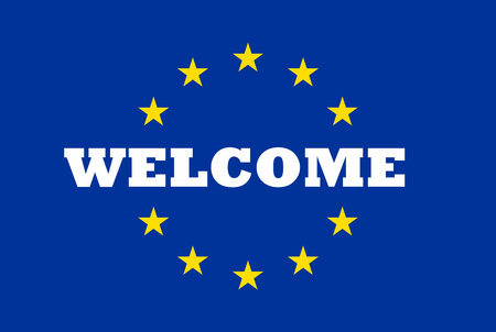 Welcome to European Union Massage on EU Flag Stock Photo