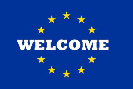 Welkom bij de Europese Unie Massage op de vlag van de EU Stockfoto