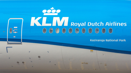 headquartered: A KLM flight. It is the flag carrier airline of the Netherlands. KLM is headquartered in Amstelveen, with its hub at nearby Amsterdam Airport Schiphol.