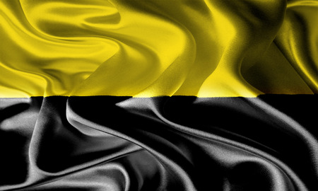 foreign land: Waving Fabric Flag of German State Saxony-Anhalt