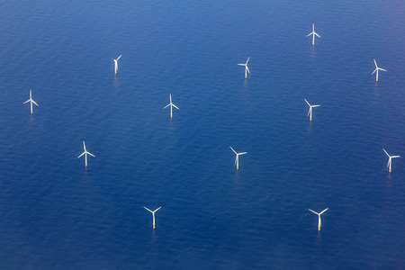 renewable energy resources: Aerial View of Wind turbines in the Sea