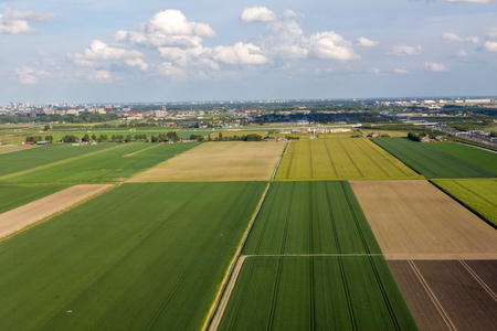 farm fresh: Aerial view of farm lands in Netherlands