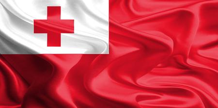 tonga: Waving Fabric Flag of Tonga