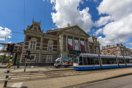 translates: AMSTERDAM, NETHERLANDS - MAR 15, 2016: The Royal Concertgebouw is a concert hall in Amsterdam, Netherlands. The Dutch term concertgebouw literally translates into English as concert building. Editorial