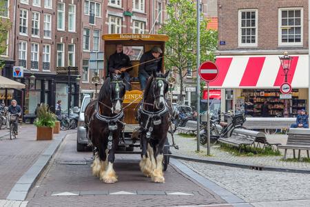 horse drawn: Horse drawn Heineken beer wagon in Old Amsterdam in Netherlands.