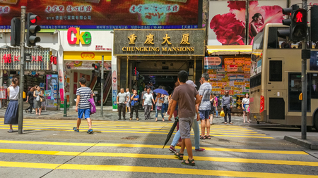 king street: Chungking Mansions is a famous Tourist spot in Tsim Sha Tsui, Kowloon, Hong Kong Editorial