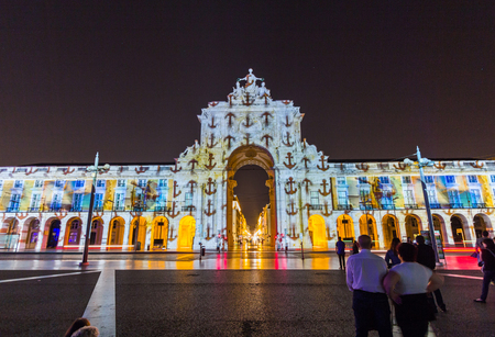 augusta: Rue Augusta arch in Commerce square at night in Lisboa, Portugal. Editorial