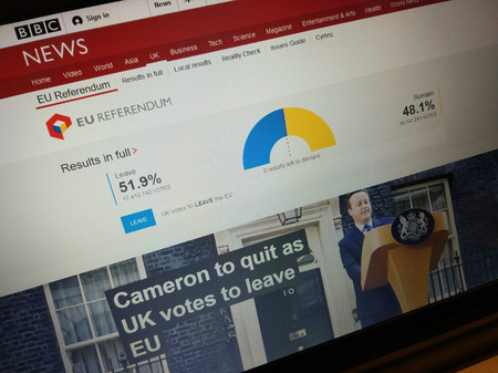 voted: BBC News website reports EU Referendum results on June 24, 2016. Prime Minister David Cameron vowed to quit by October after UK voted to leave EU.