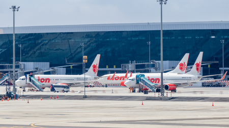 Lion Air planes parked at Soekarno-Hatta International Airport. Lion Air is the second largest low-cost airline in the Southeast Asia. Editorial