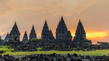 prambanan: Sunset over Prambanan temple near Yogyakarta in Central Java, Indonesia Stock Photo