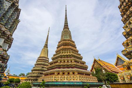 Stupas von Wat Po. Wat Po ist ein buddhistischer Tempel-Komplex in der Phra Nakhon, Bangkok, Thailand.