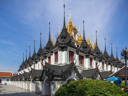 cast in place: Loha Prasat Metal Castle in Wat Ratchanatdaram. Wat Ratchanatdaram is a buddhist temple in Bangkok, Thailand.
