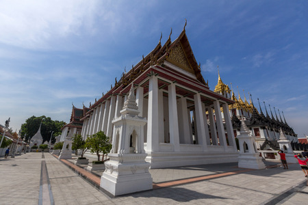 Loha Prasat Metal Castle and Wat Ratcha Natdaram Worawihan in Wat Ratchanatdaram. Wat Ratchanatdaram is a buddhist temple in Bangkok, Thailand.