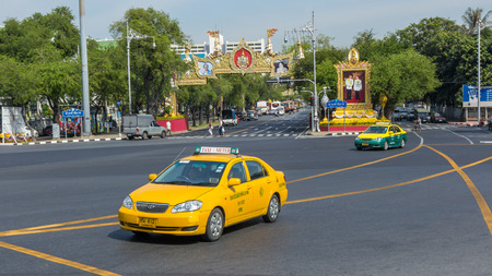 however: Colorful Bangkok taxis on the street in Bangkok. Public transport develops rapidly in Bangkok, however traffic congestion is still a problem.