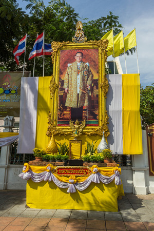 adulyadej: The large portrait of Thai King Bhumibol Adulyadej in front of Thammasat University in Bangkok, Thailand.
