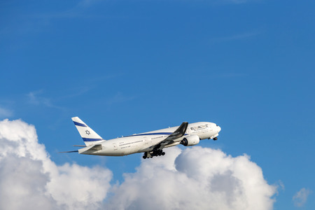 El Al Israel Airlines airplane departing from the Hong Kong International Airport. About 90 airlines operate flights from HKIA to over 150 cities across the globe. Editorial