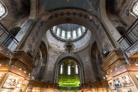 Interior of Saint Sophia Cathedral in the central district of Daoli, Harbin City, China. It is the perfect example of Neo-Byzantine architecture. Editorial