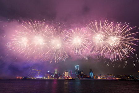 asian art: Fireworks at Victoria Harbor in Hong Kong.