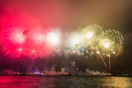 Fireworks mark the anniversary of Hong Kongs handover to China Stock Photo