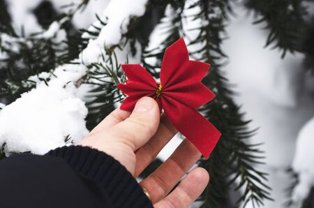 Man hand hanging red ribbon decoration  christmas  in  winter snowy forest tree