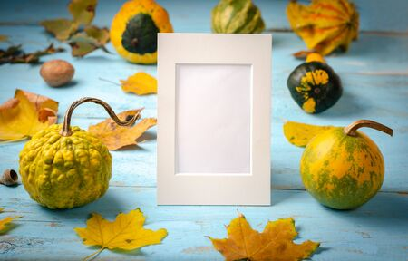 Autumn composition background. Pile of pumpkins and leaves on blue wooden background, with blank white photo frame . Top view, copy space, flat lay .