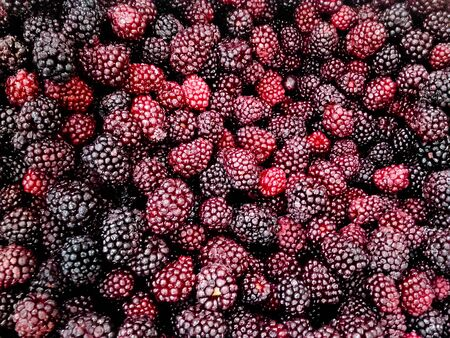 Pile of frozen blackberries ready for sale.