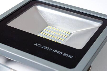 Close-up  of  aluminum 20 watt solar led diode   light luminary new  generation   on white background  Standard-Bild