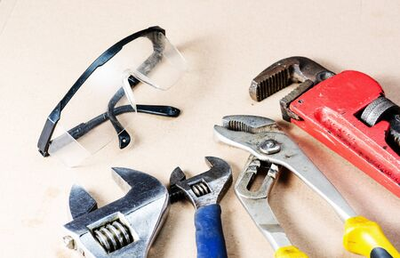 Close-up view  of  tools and equipment for repairing plumbing .