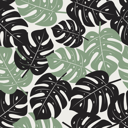 Monstera Leaves Seamless Pattern. Tropical vector texture.