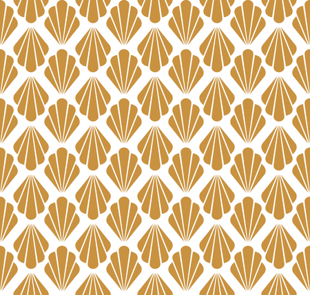 Art Deco Seamless Pattern. Geometric Floral decorative texture. Vector Leaves stylish background. Abstract sea shell illustration. Ilustração