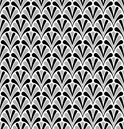 Japanese Ornamental Vector Background. Art Deco Floral Seamless Pattern. Geometric decorative texture.