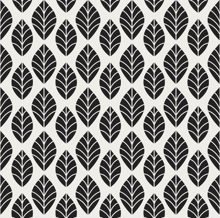 Geometric leaves vector seamless pattern. Abstract vector texture. Leaf background. Vetores