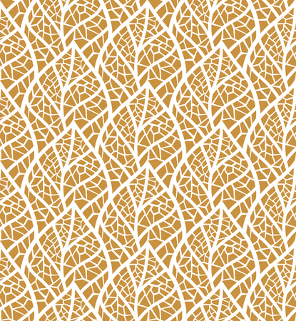 Decorative Gold Leaves Seamless. Mosaic leaf background. Floral Texture.