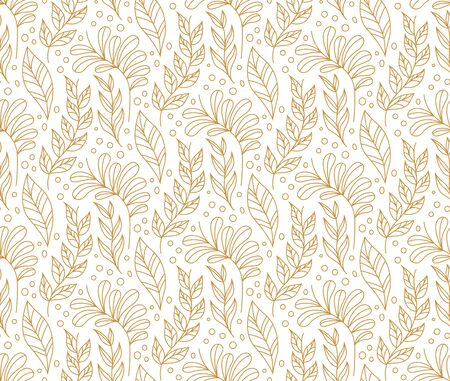 Vector illustration of leaves seamless pattern. Floral organic background. Hand drawn leaf texture.